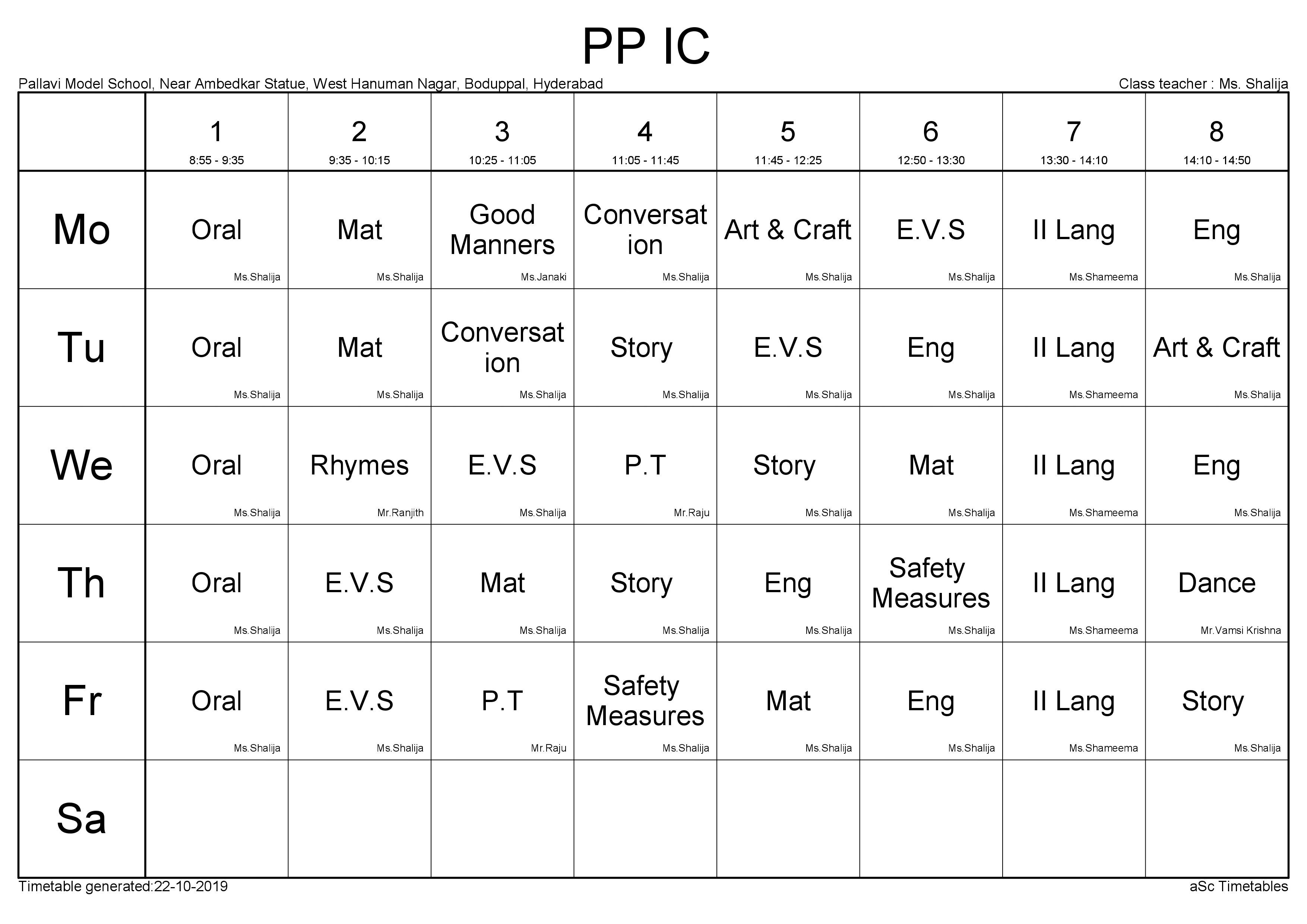 Time Table PP - 1C
